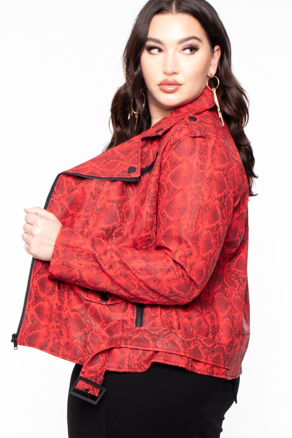 Plus Size Faux Snake Skin Leather Moto Jacket Red Plus