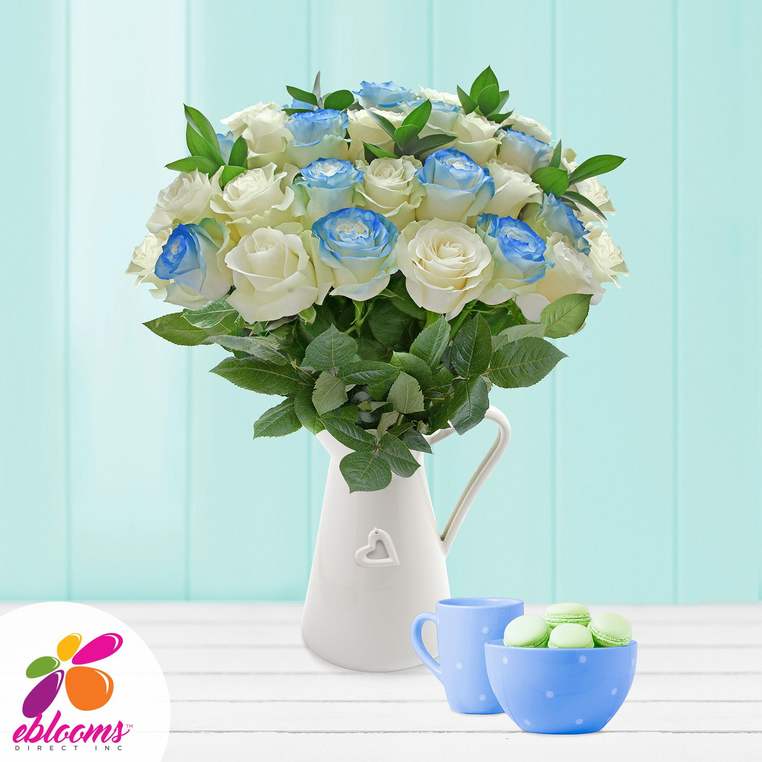 Blue Airbrushed Roses and Ruscus Bouquet Pinterest Roses garden