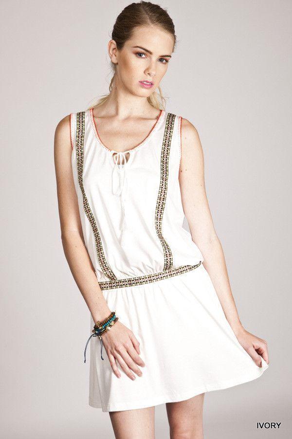 Drop Waist Dress - White – Blu Dulce