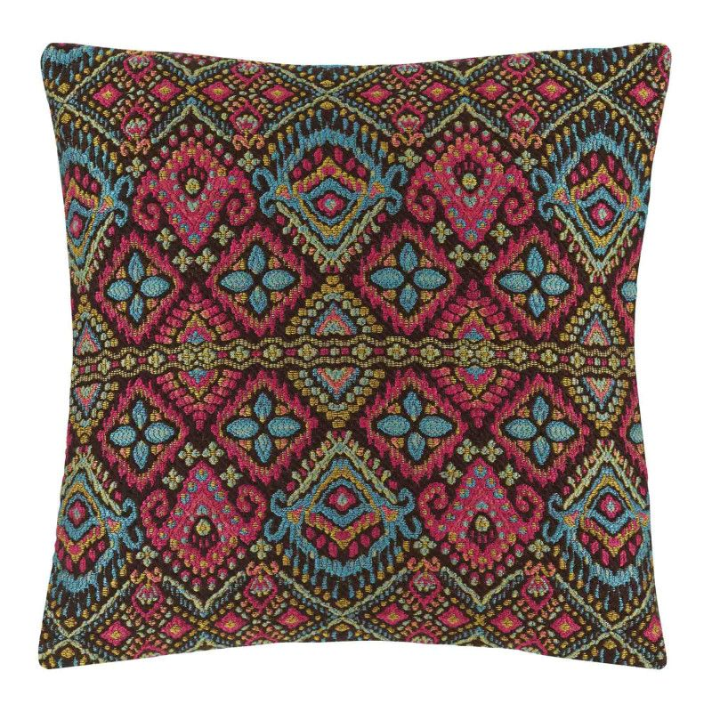 Inspired by the spirit of bohemian dancers, this cushion cover is flamboyant. It will bring a cheerful, festive touch to your home. Its weave is reminiscent of the needlework of ancient tapestries.