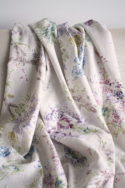 Beauuuutiful Floral Fabric In Plum Lilac Indigo Blue And Grass Green Linen Fabric Decor Drapes Curtains Uph Fabric Home Decor Fabric Upholstery Fabric