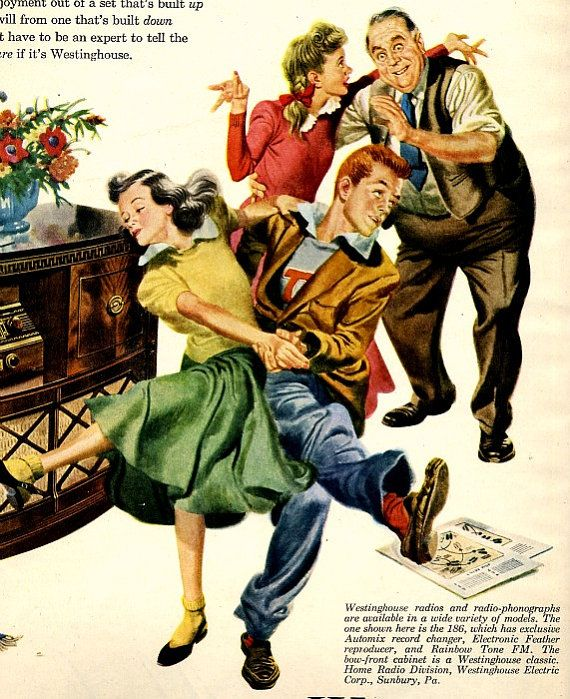 vintage swing dance 1948 advertisement radio by FrenchFrouFrou, $14.95