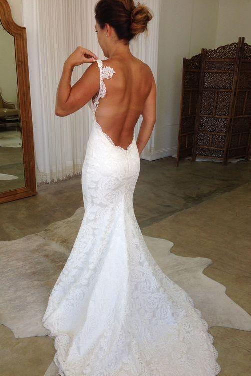 Elegante weiße rückenfreie Meerjungfrau Spaghettiträger Spitze Brautkleider, SW202