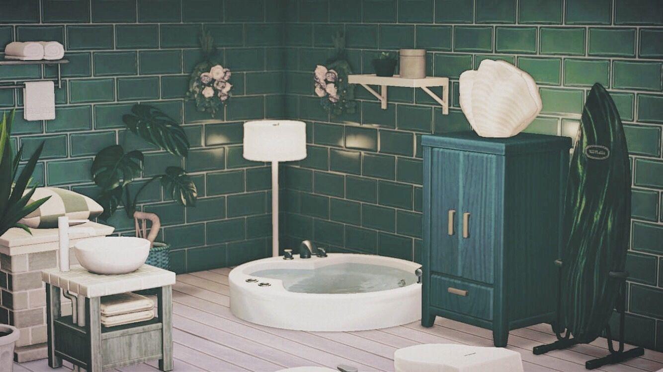 Acnh Blue Green Bathroom In 2020 Green Bathroom Blue Green Bathrooms Bathroom Inspiration