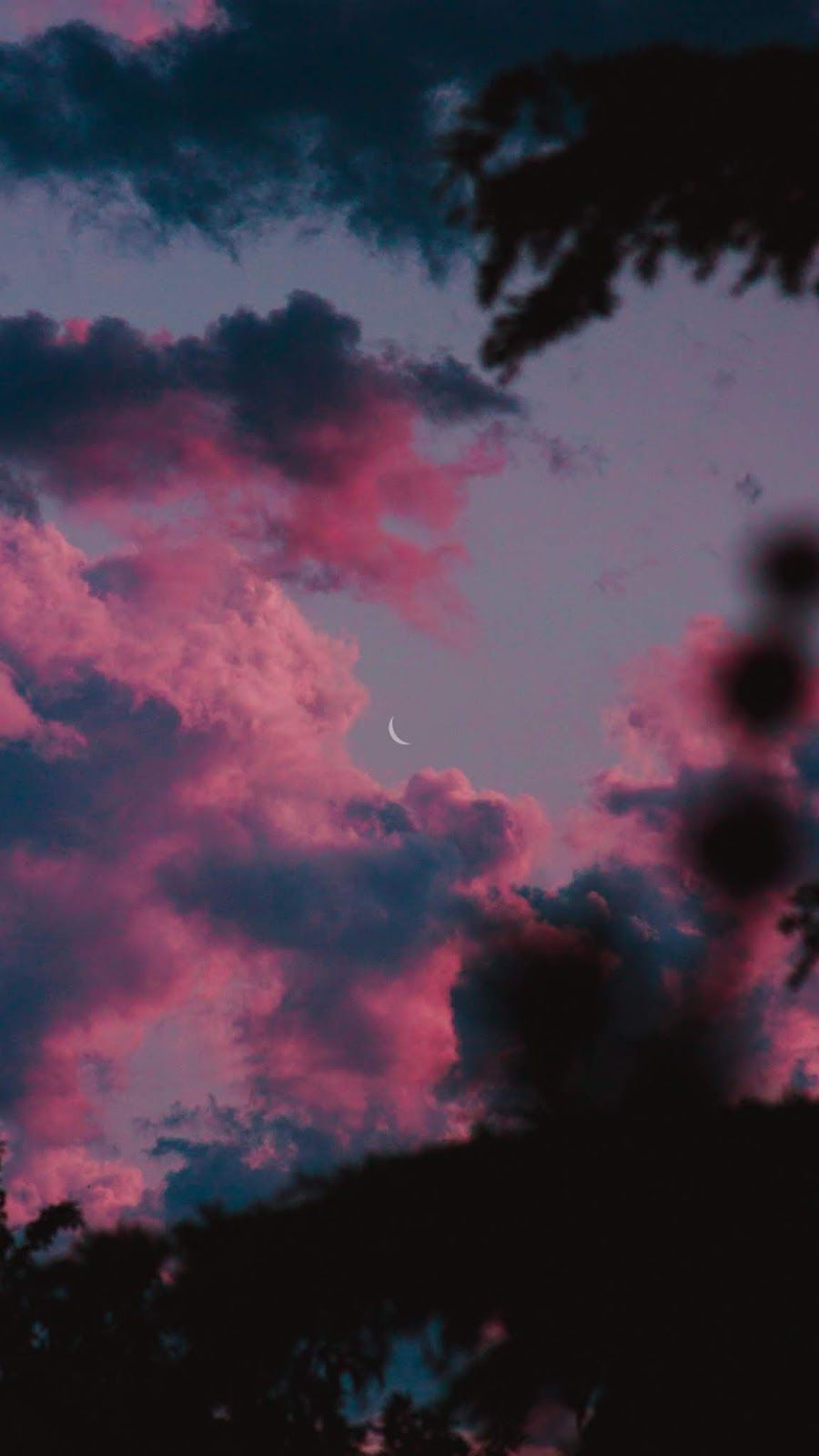 Crescent Moon In The Pink Sky Pretty Wallpapers Night Sky Wallpaper Sky Aesthetic