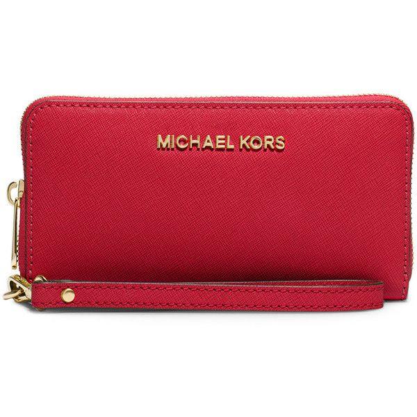 MICHAEL Michael Kors Jet Set Travel Saffiano Wristlet Wallet ($98) ❤ liked on Polyvore