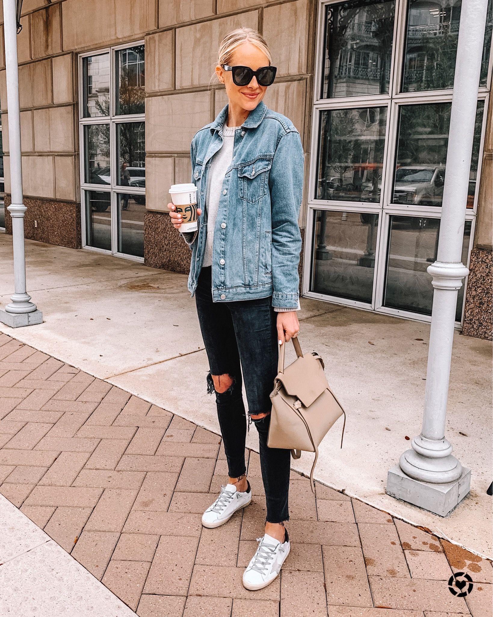 Fashion Jackson Instagram Fashion Jackson Black Ripped Skinny Jeans Oversized Denim Jacket [ 2048 x 1639 Pixel ]