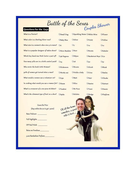 Battle Of The Sexes Couple Shower Game Trivia By 31flavorsofdesign