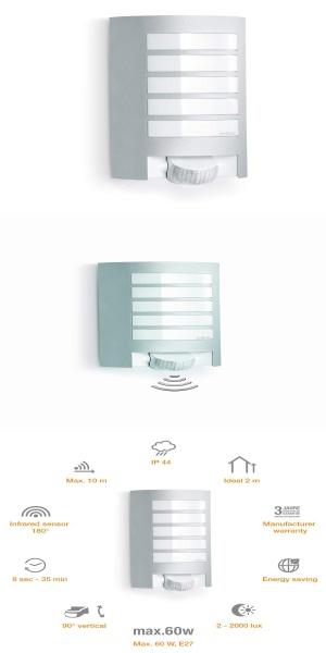 Steinel Aussenleuchte L 12 Silber 180 Bewegungsmelder 10 M Reichweite Robuste Alu Blende E27 Max 60 W Wan Innenbeleuchtung Wandleuchte Lichter