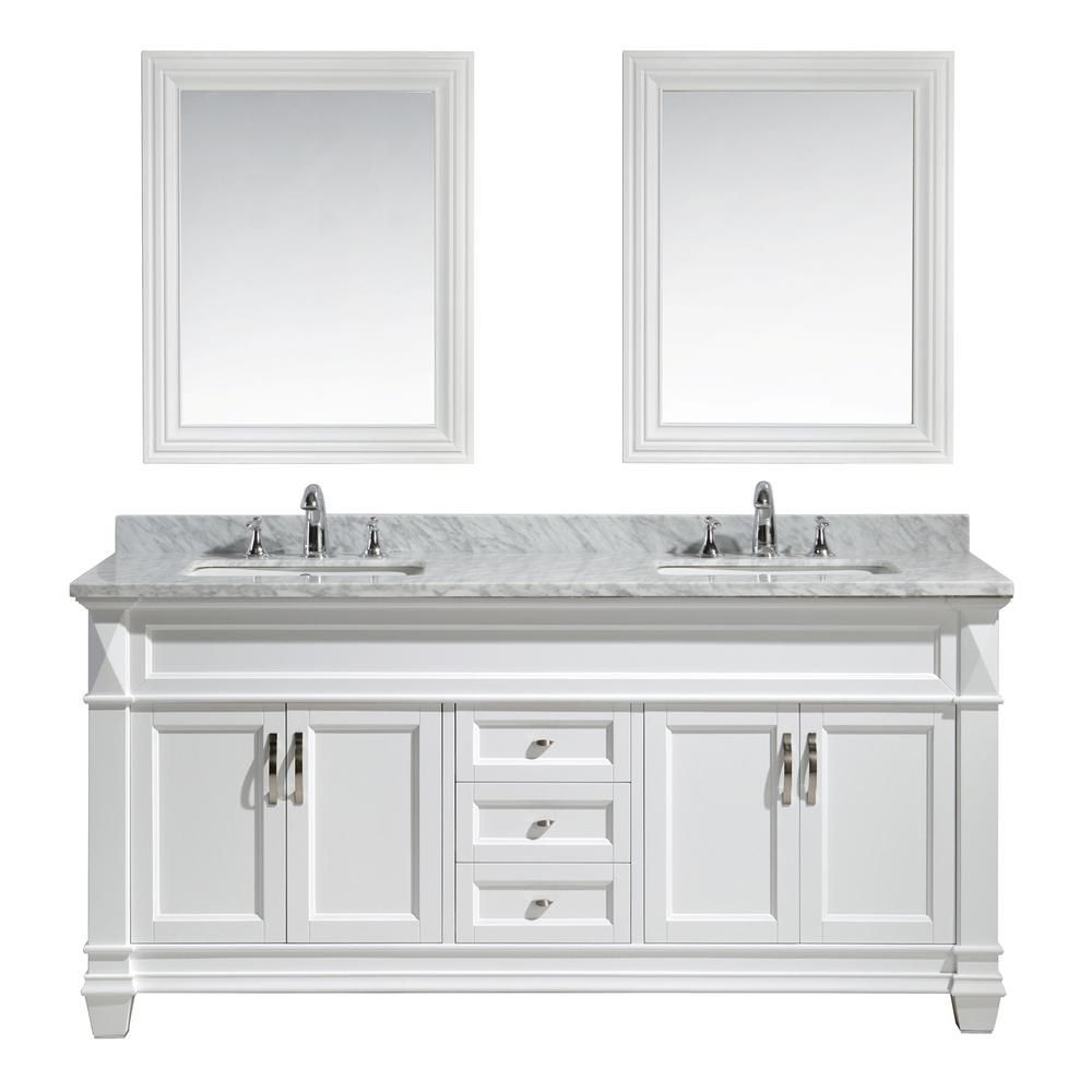 Hudson 72 inch Double Vanity in White with Matching Mirror ...