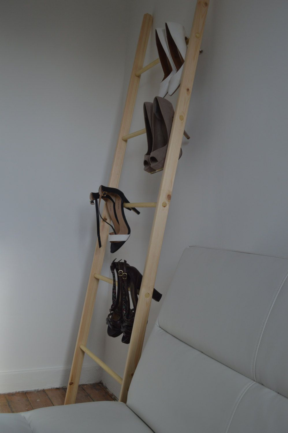 Straight Thin Decorative Wooden Ladder from Pine Wood