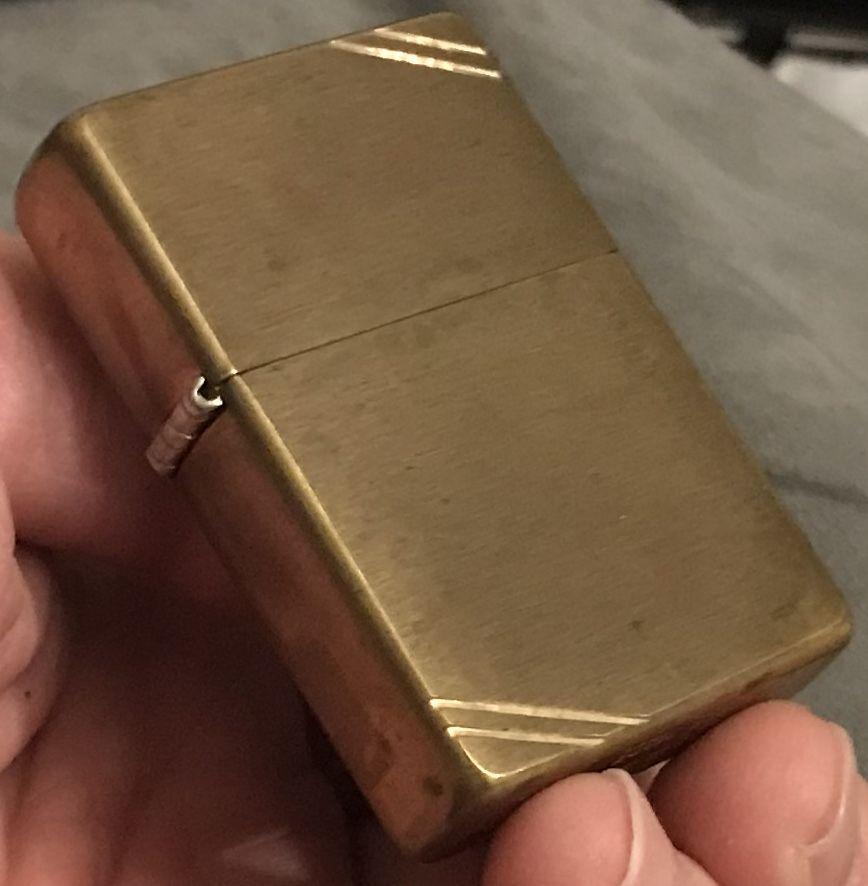 Vintage 1995 Brass Corner Slashes Pat 2032695 Zippo Lighter Flat Top Bottom Zippo Zippo Lighter Windproof Lighter
