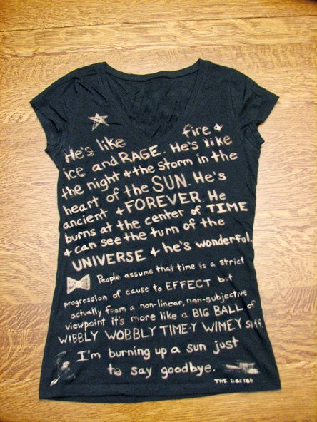 Doctor Who Tshirt (Fandom) Quote Bleached, Custom Made on Etsy, $22.00