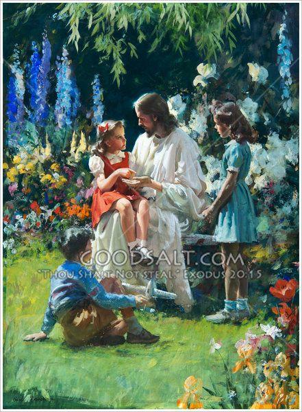 Little girl sitting on Jesus' lap asks Jesus what happened ...