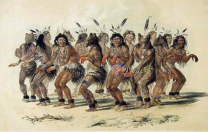 American Indians Participating In A Circle Dance Circle