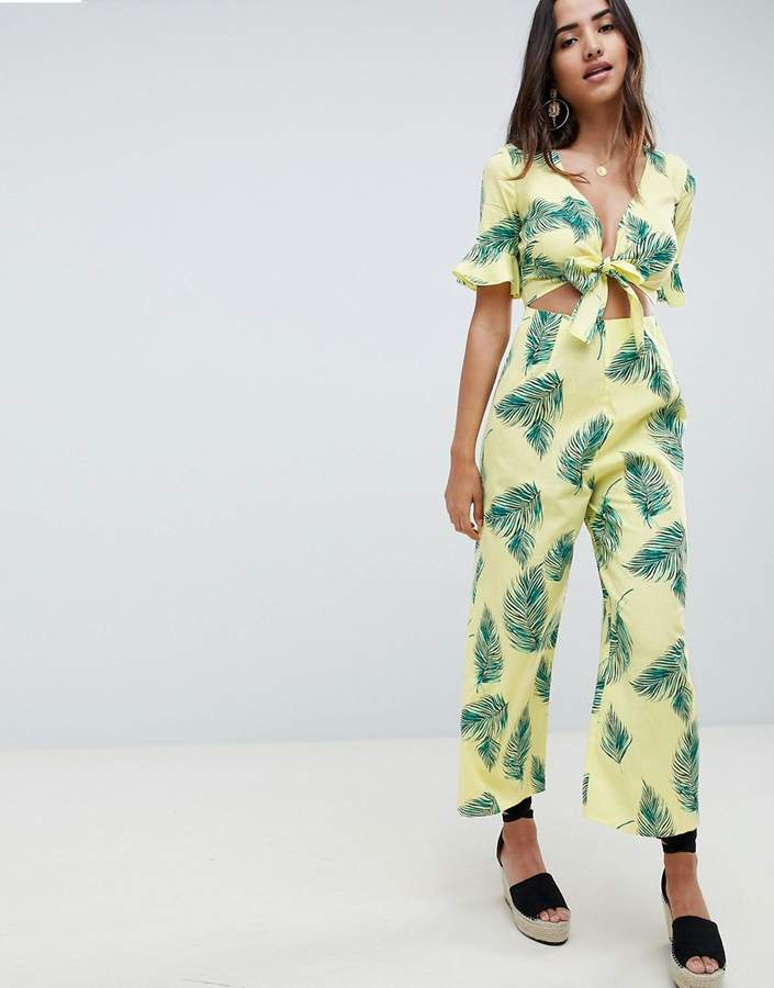 d35428ff8518 Asos DESIGN tea jumpsuit with cut out and tie detail in linen in leaf print