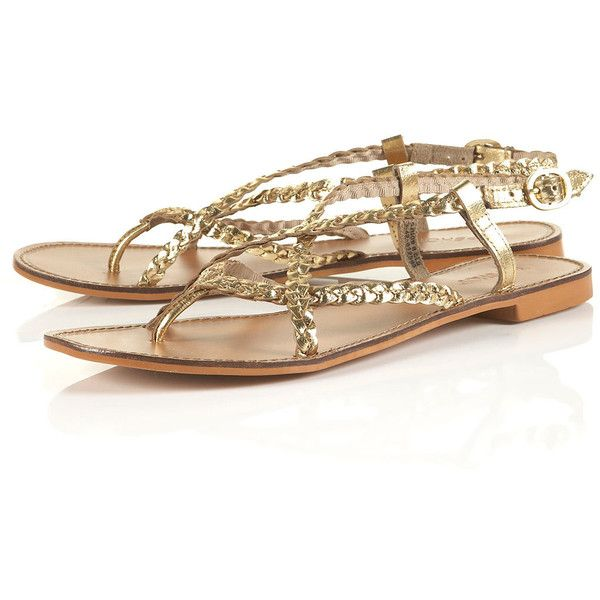 Harley Plaited Gold Sandals 31 Found On Polyvore Gold Sandals Gold Flat Sandals Woven Shoes