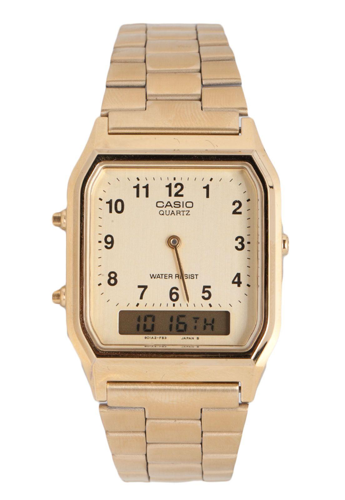 424c57b8e9a17 Relógio Casio AQ-230GA-9BMQ Dourado   acessórios.   Relógio casio ...