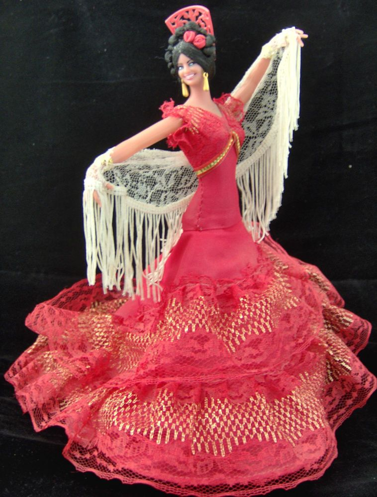 Vintage Marin Chiclana Spanish Flamenco Dancer Collectors Doll 11 Red Dress #spanishdolls
