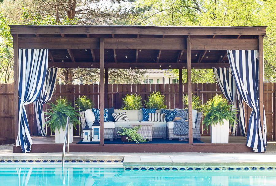 Pool Cabana Makeover The Lilypad Cottage Backyard Cabana