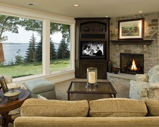Tv In Front Of Window Built In Corner Tv Design Pictures