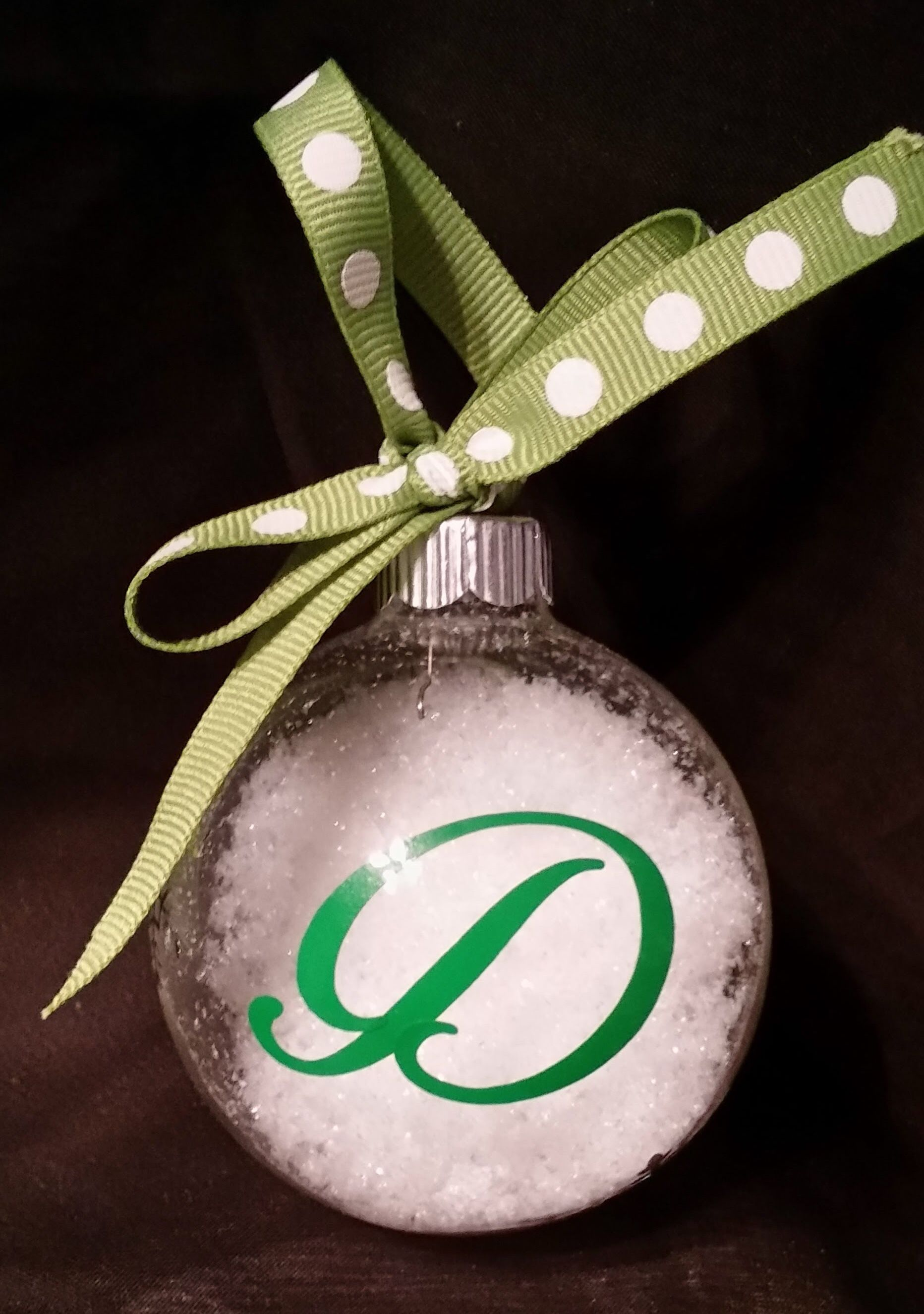 "Custom monogram green 2 1 2"" clear glass snow filled Christmas"
