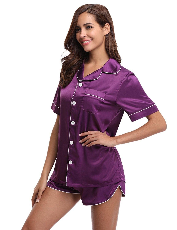 96797287e6 Womens Pajama Short Set Silk Satin Sleepwear Short Sleeves with ...