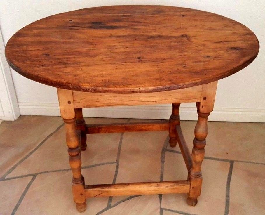 Antique Maple And Pine Small Oval Table 34 X 29, Circa Early 1900u0027s