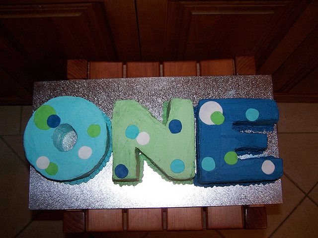 shape. color scheme. polka dots    [One first birthday cake by Sandra (socake), via Flickr]