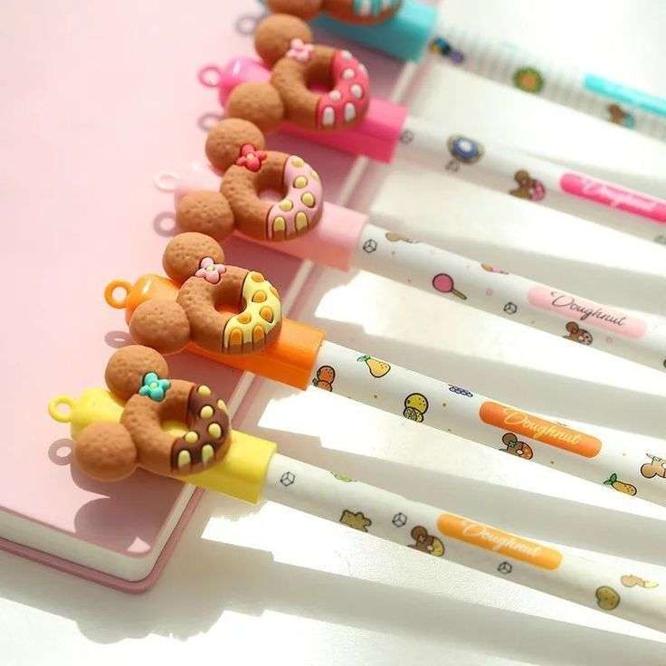 5pcs DONUT COOKIE Pens ERASABLE Kawaii Stationary Cute Pen Set Journal Stationery Planner Acc... 5p