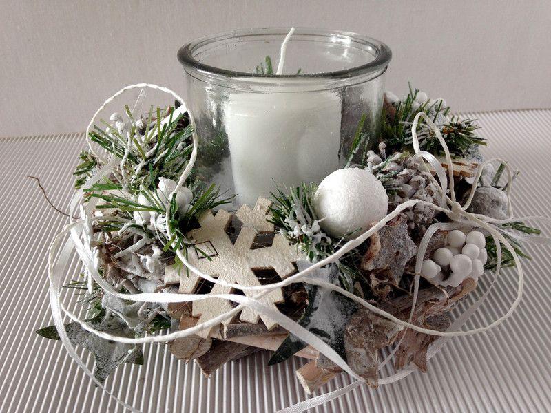 adventskranz adventskranz windlicht silber weiss ein designerst ck von gittirai bei dawanda. Black Bedroom Furniture Sets. Home Design Ideas