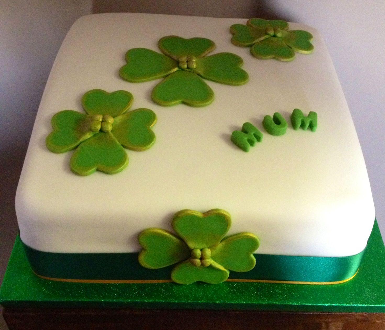 Irish Themed Cake With Shamrocks Irish birthday cake