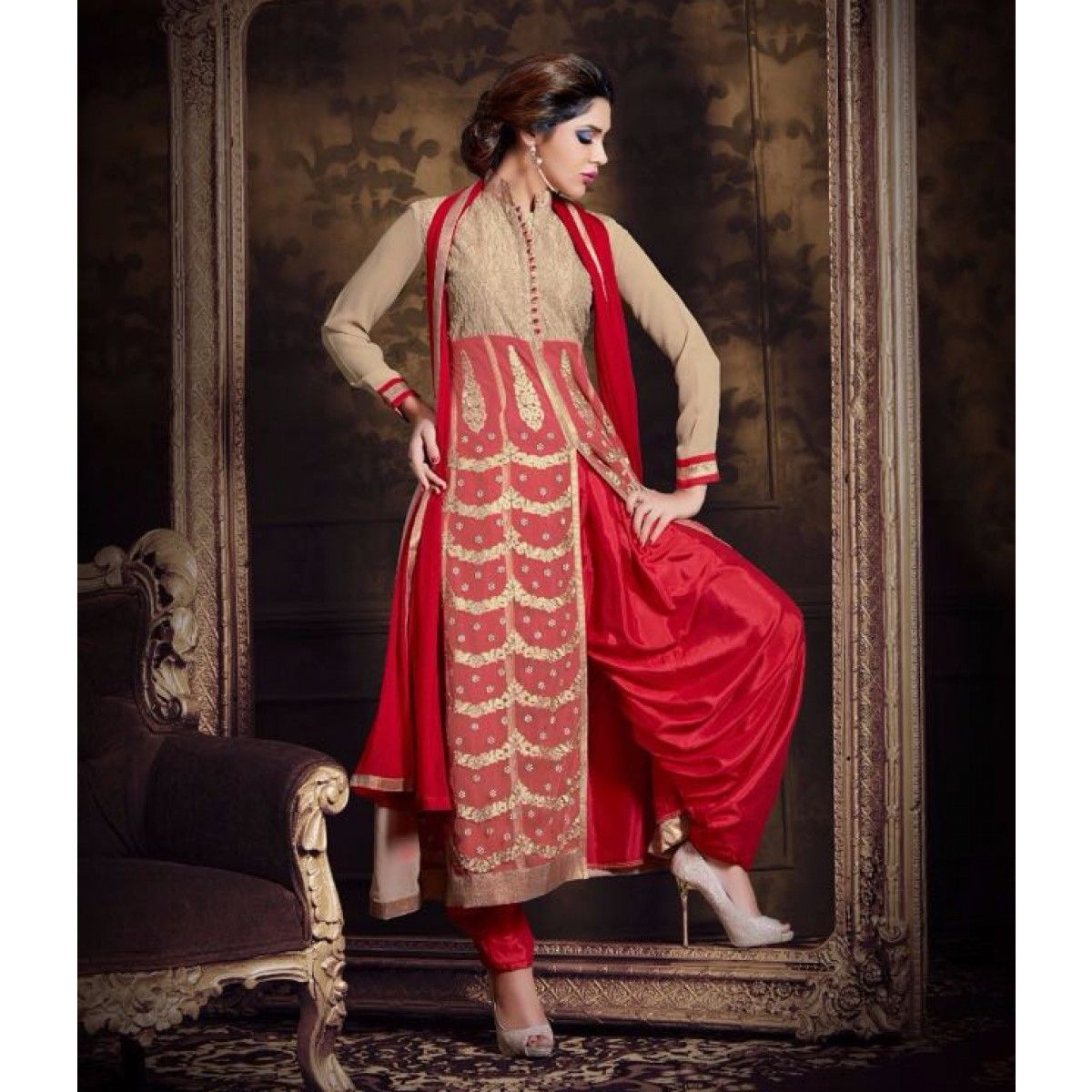 Buy Red Georgette Front Slit Patiala Suit for womens online India, Best Prices, Reviews - Peachmode