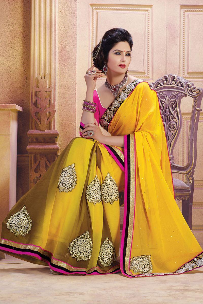 Lehenga saree for wedding bride yellow color designer wedding bridal lehenga saree from skysarees