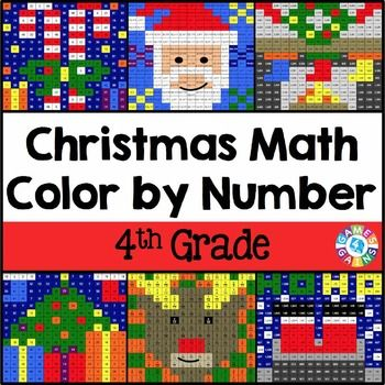 This 4th Grade Christmas Math Color By Number Activities Pack Includes 6 Exciting Mystery Pictures For Celebrating Ch Christmas Math Math Coloring Holiday Math