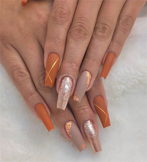 Best Acrylic Coffin Nails Art Designs For Fall #fallnails