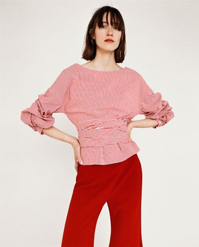 8cfa57cb7c22d9 STRIPED BLOUSE WITH PLEATED SLEEVES AND BOW BELT-NEW IN-WOMAN