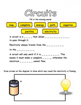 Circuits and Electricity | grade 4 science worksheets | Science