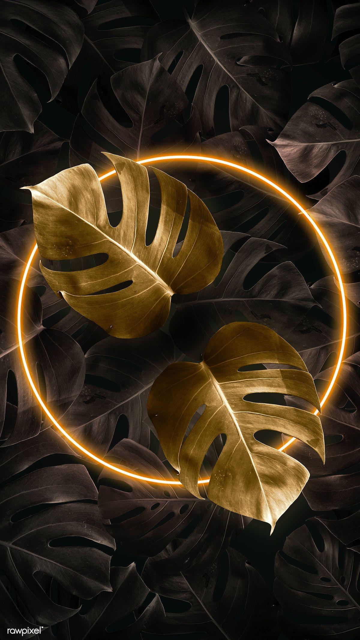 Download premium illustration of Tropical golden neon ...