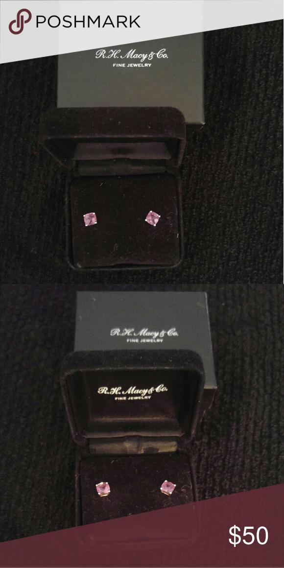 R.H. Macy's Lavender Earrings Princess cut/ Lavender Stone Macy's Jewelry Earrings