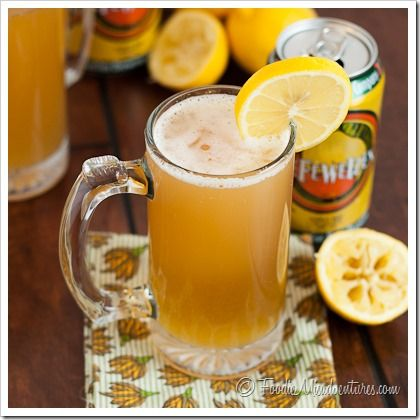 This light and refreshing drink is bursting with lemon flavor. It's topped with ice cold beer, making it a shandy worthy of any Spring or Summer gathering.