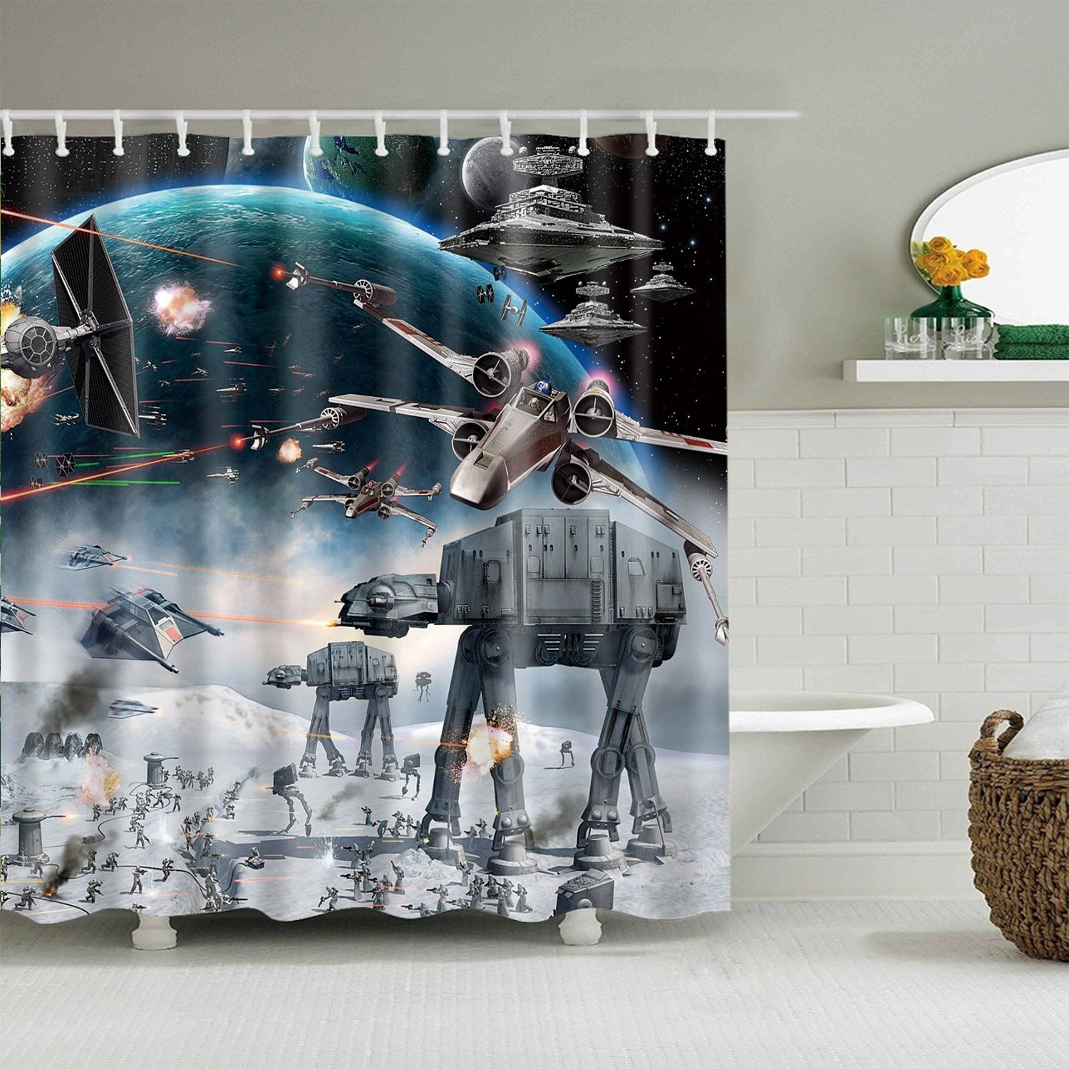 Epic Battle Hoth Space Star Wars Shower Curtain Curtains Bath