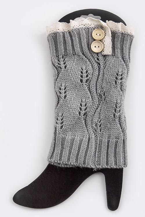 LEAF DESIGN KNITTED LEG WARMER WITH BUTTONS