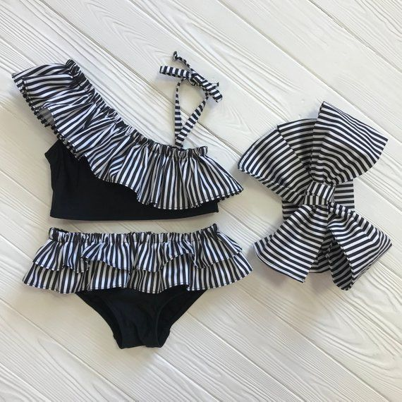 Little Girls Bathing Suit | Baby shower gift | Bathing Suit babies | Black Costume | Baby bikini bottom | Two Piece bathing suit | Swim