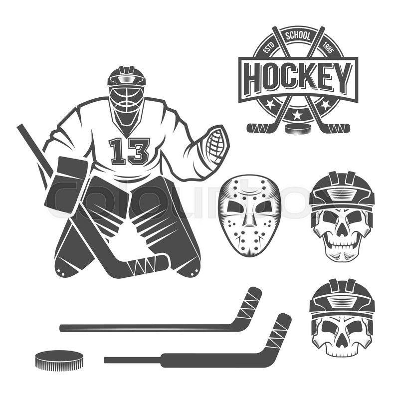 Stock Vector Of Hockey Goalie Elements Skull Helmet Mask Hockey Stick Puck Winter Sports Retro Logo Design Old Hockey Goal Hockey Helmet Hockey Goalie