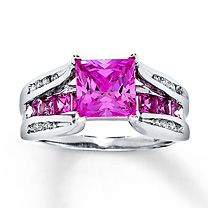 10K White Gold Diamond and Lab-Created Pink Sapphire Ring