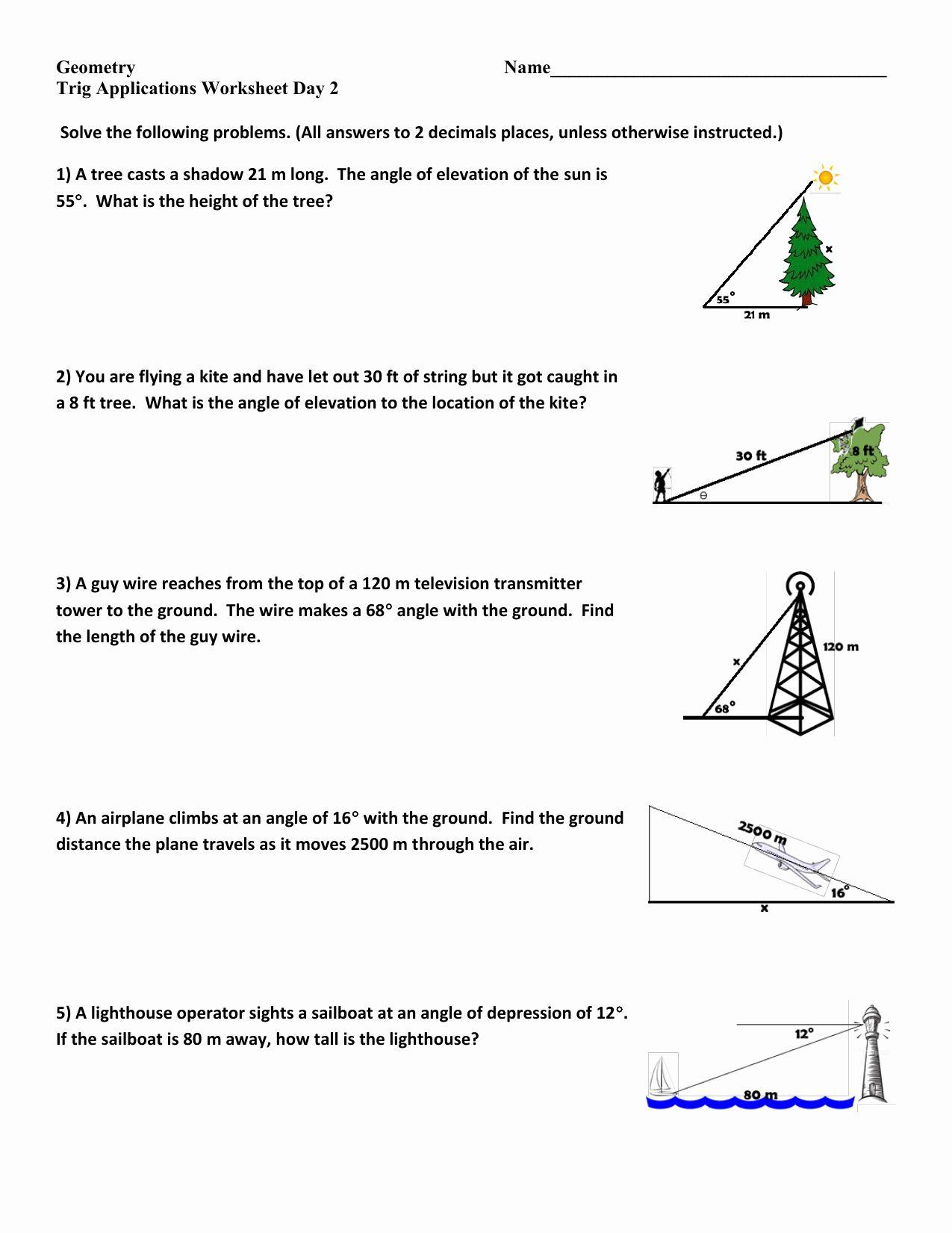 Right Triangle Trigonometry Worksheet Luxury Trigonometry Word Problems  Worksheets with Answers   Trigonometry worksheets [ 1651 x 1275 Pixel ]