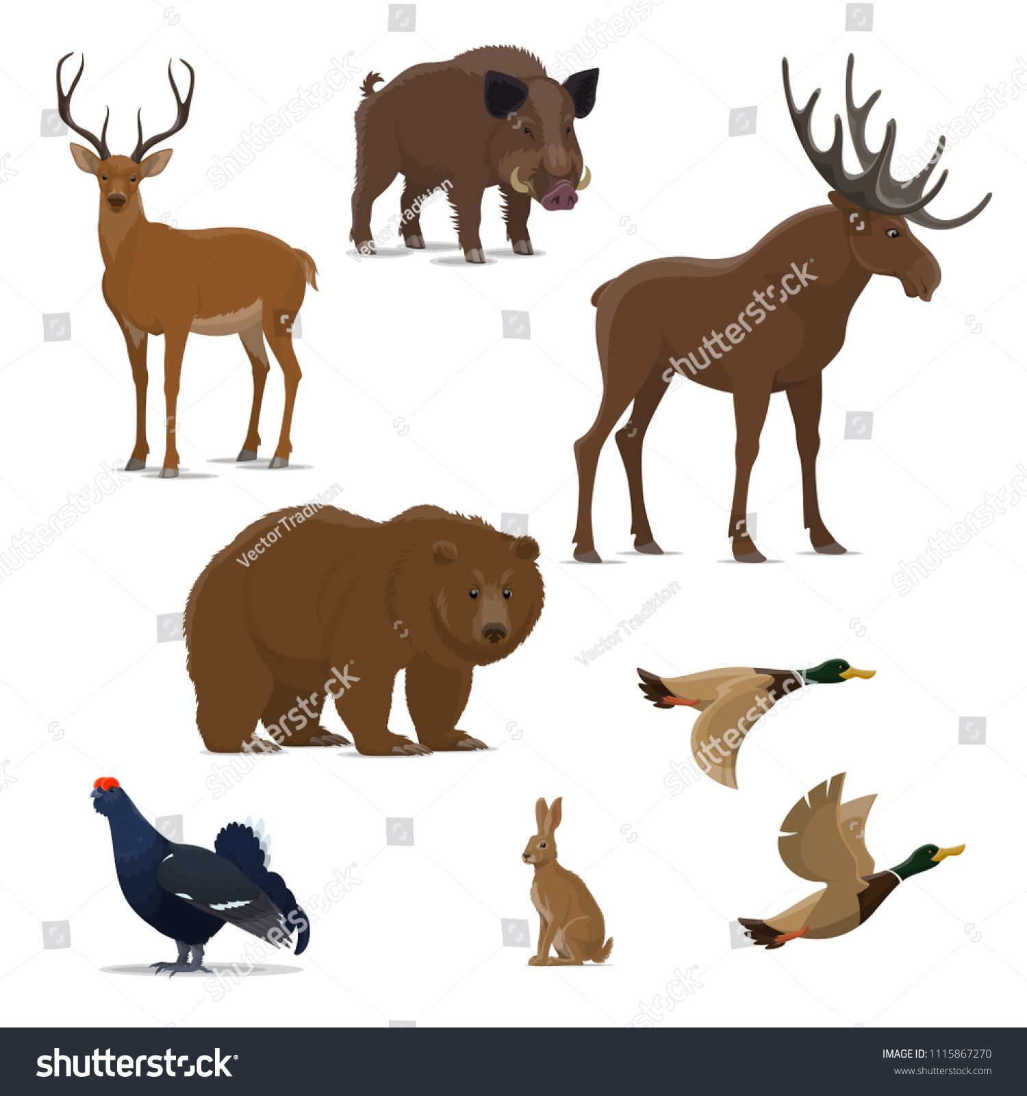 Wild Forest Animal And Bird Isolated Icon Set For Hunting Sport Design Bear Duck And Deer Reindeer Hare And Elk Boar And Black Grou Wild Animals Silhouettes