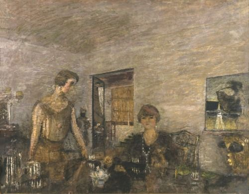 Edouard Vuillard (1868 – 1940), Misia Sert and her Niece Mimi Godebska(The Black Cups),  c. 1923-5, distemper on canvas, 55 1/8 × 68 7/8 in. (140.0 × 175.0 cm)