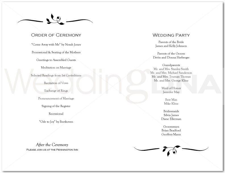 wedding programs | Leaf Bracket Wedding Program | page 2 | rhondalee ...